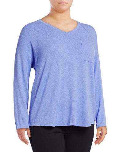 Calvin Klein Performance Plus Long-Sleeve Dropped Shoulder V-Neck Top-BLUE-1X