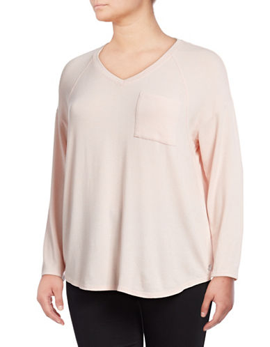 Calvin Klein Performance Plus Long-Sleeve Dropped Shoulder V-Neck Top-PINK-2X