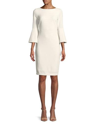 Calvin Klein Bell Sleeve Sheath Dress-WHITE-12