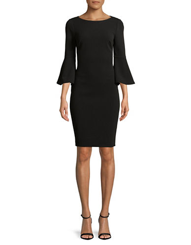 Calvin Klein Bell Sleeve Sheath Dress-BLACK-4