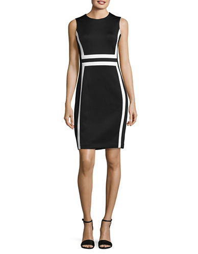 Calvin Klein Colourblock Sheath Dress-BLACK/WHITE-2