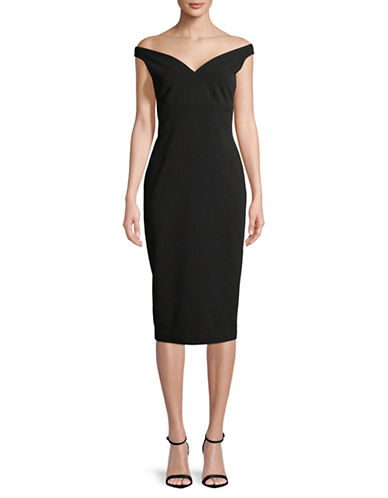 Calvin Klein Off-The-Shoulder Sheath Dress-BLACK-8