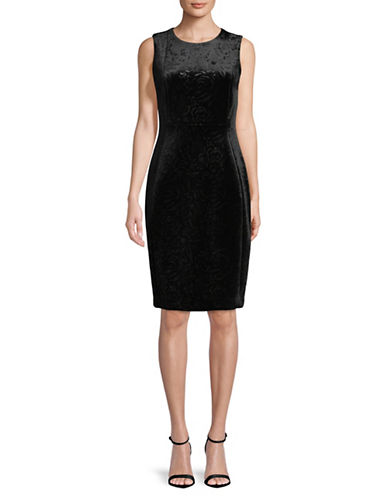 Calvin Klein Sleeveless Velvet Sheath Dress-BLACK-2