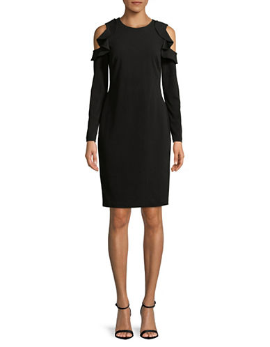 Calvin Klein Cold-Shoulder Ruffle Sheath Dress-BLACK-4