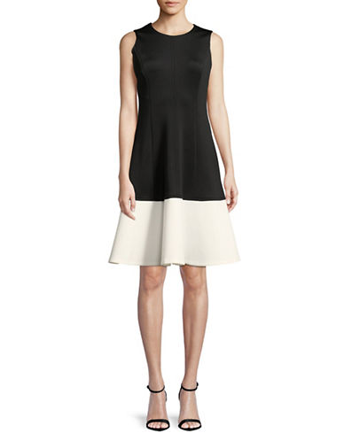 Calvin Klein Colourblocked A-Line Dress-BLACK/CREAM-2