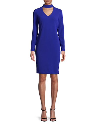 Calvin Klein Long Sleeves Choker Dress-BLUE-14