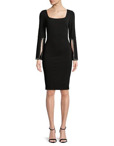 Calvin Klein Embellished Bell Sleeve Dress-BLACK-6