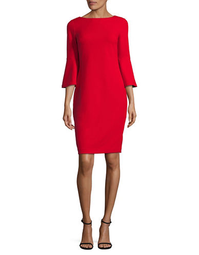 Calvin Klein Bell Sleeve Sheath Dress-RED-10