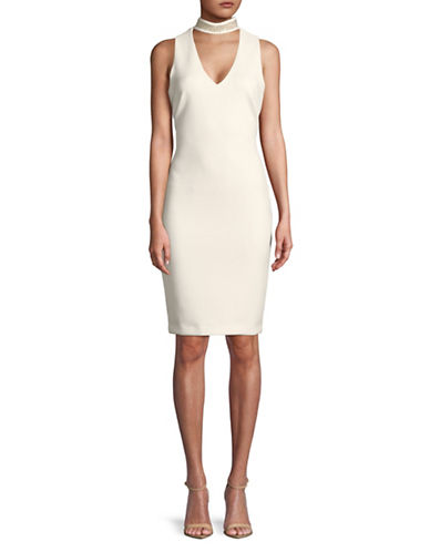 Calvin Klein Embellished Sleeveless Sheath Dress-CREAM-14