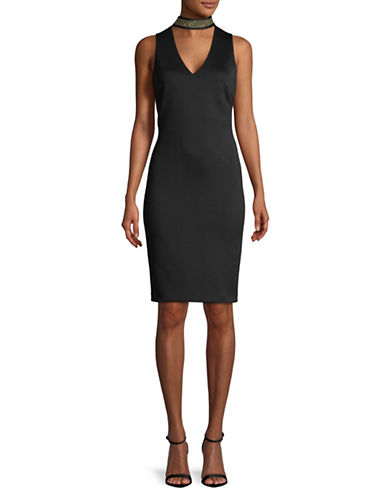 Calvin Klein Choker Sheath Dress-BLACK-14