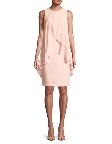 Calvin Klein Ruffled Overlay Sleeveless Dress-PINK-4