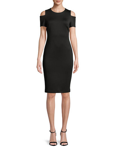 Calvin Klein Cold Shoulder Sheath Dress-BLACK-2