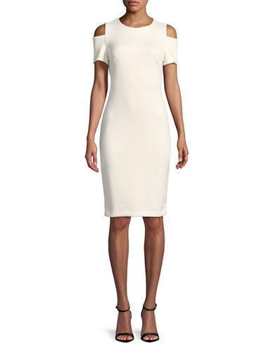 Calvin Klein Cold Shoulder Sheath Dress-WHITE-12