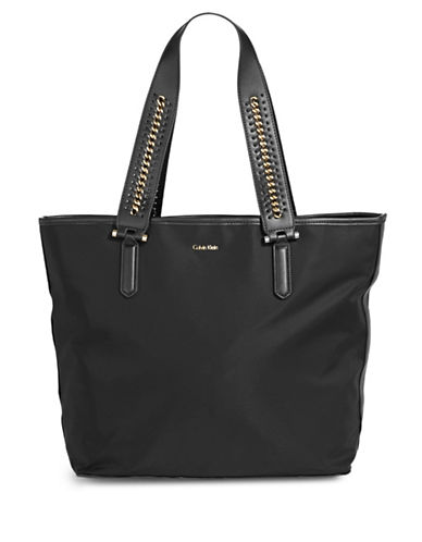 Calvin Klein Chained Handle Tote-BLACK-One Size