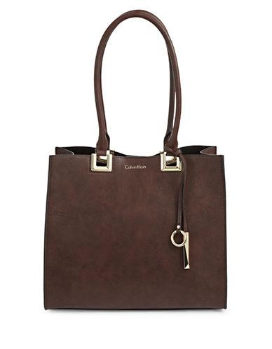Calvin Klein Square Leather Tote-OAK-One Size