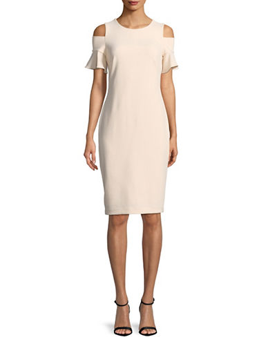 Calvin Klein Cold-Shoulder Sheath Dress-PINK-12