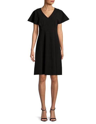 Calvin Klein Flutter-Sleeve A-Line Dress-BLACK-8