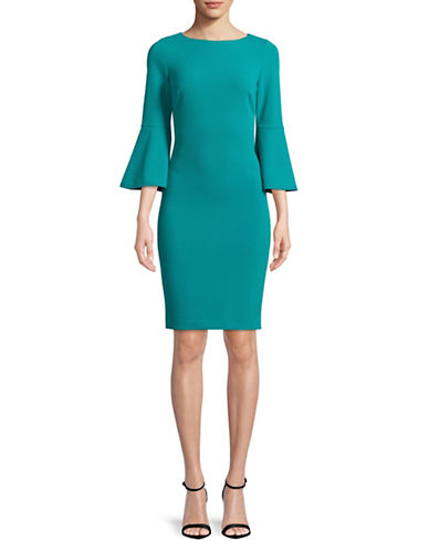 Calvin Klein Bell Sleeve Sheath Dress-GREEN-10