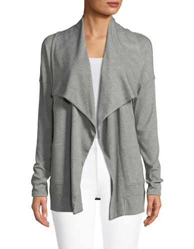 Calvin Klein Performance Rib-Trimmed Cardigan-GREY-Small