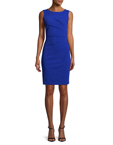 Calvin Klein Ruched Sleeveless Sheath Dress-BLUE-12