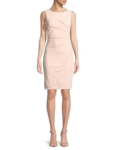 Calvin Klein Ruched Sleeveless Sheath Dress-PINK-8