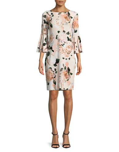 Calvin Klein Floral Bell-Sleeve Sheath Dress-MULTI-10