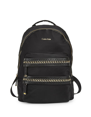 Calvin Klein Decorative Chain Backpack-BLACK-One Size