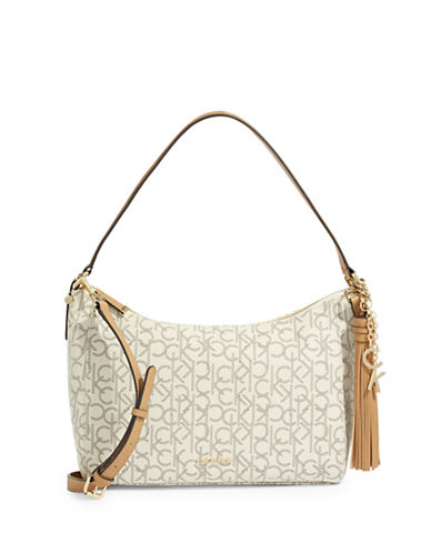 Calvin Klein Textured Hobo Bag-CASHEW-One Size