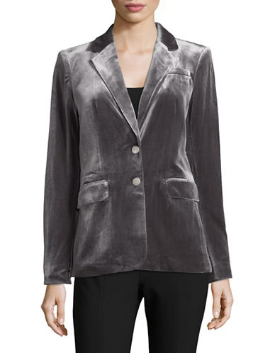 Calvin Klein Notch Lapel Velvet Blazer-GREY-4