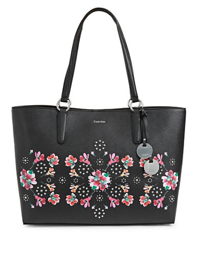 Calvin Klein Floral Print Leather Tote-BLACK-One Size