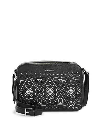 Calvin Klein Studded Leather Camera Bag-BLACK-One Size
