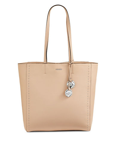 Calvin Klein Studded Leather Tote-BROWN-One Size