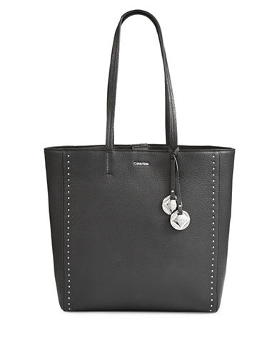 Calvin Klein Studded Leather Tote-BLACK-One Size 89719901_BLACK_One Size