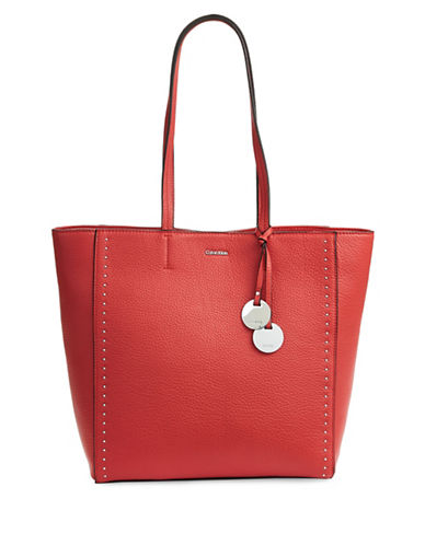 Calvin Klein Studded Leather Tote-ORANGE-One Size