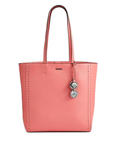 Calvin Klein Studded Leather Tote-PINK-One Size