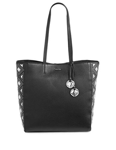 Calvin Klein Studded Leather Tote-BLACK STUD-One Size