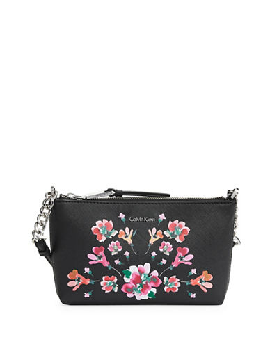 Calvin Klein Faux Leather Chain Crossbody Bag-BLACK FLORAL-One Size
