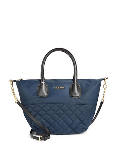 Calvin Klein Quilted Nylon Satchel-NAVY-One Size