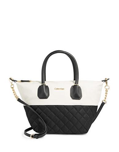 Calvin Klein Quilted Nylon Satchel-WHITE/BLACK-One Size 89746822_WHITE/BLACK_One Size