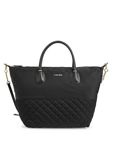 Calvin Klein Quilted Nylon Shopper-BLACK-One Size