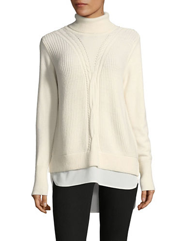 Tommy Hilfiger Ribbed Turtleneck Sweater-WHITE-Large