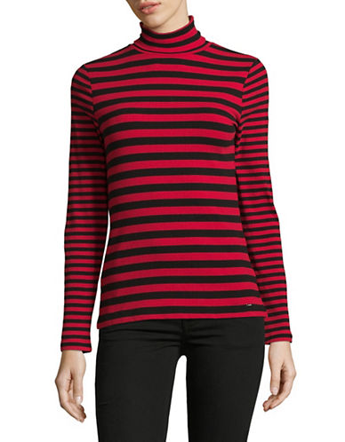 Tommy Hilfiger Striped Turtleneck Sweater-RED-X-Small