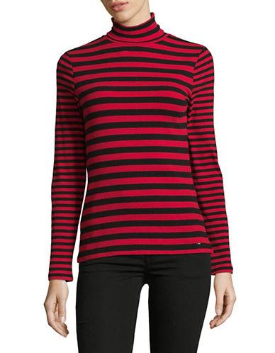 Tommy Hilfiger Striped Turtleneck Sweater-RED-Large