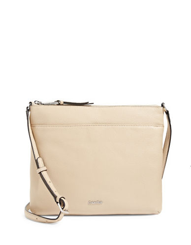 Calvin Klein Pebble Leather Crossbody-OAT-One Size