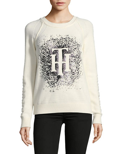 Tommy Hilfiger Logo Sparkle Sweater-NATURAL-Small