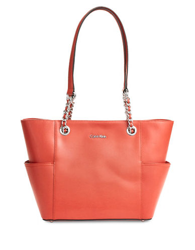 Calvin Klein Chain-Strap Metallic Tote-ORANGE-One Size