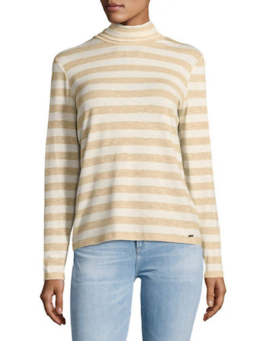 Tommy Hilfiger Lurex Striped Turtleneck Sweater-NATURAL-Small