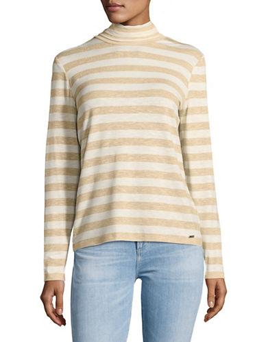 Tommy Hilfiger Lurex Striped Turtleneck Sweater-NATURAL-Large