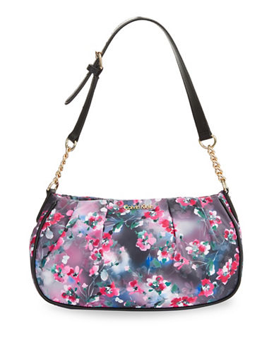 Calvin Klein Florence Nylon Demi Shoulder Bag-BLACK FLORAL-One Size