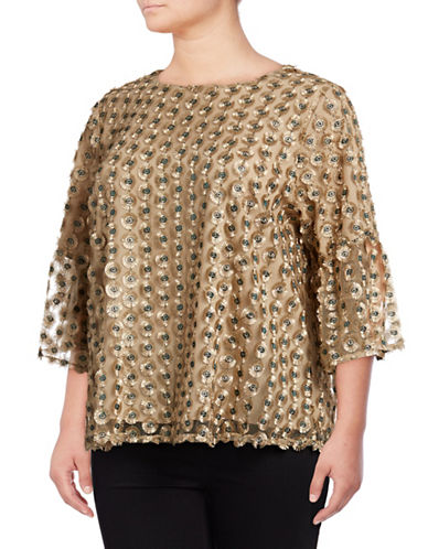 Calvin Klein Plus Plus Embellished Overlay Top-GOLD-1X
